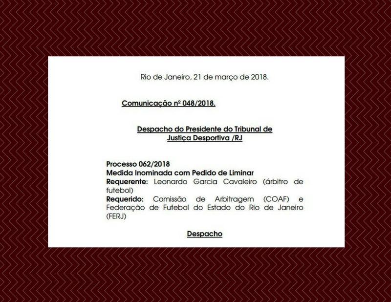 Punição ao árbitro Leonardo Cavaleiro está suspensa